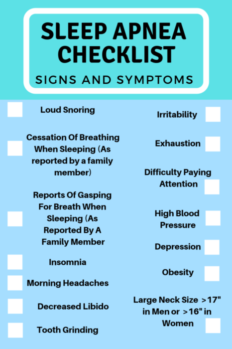 Here are some of the most common sleep apnea signs and symptoms. As you see sleep apnea is more than just snoring and can effect your overall health!